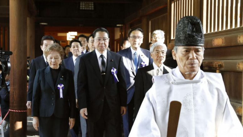 Japanese lawmakers' group visits war-linked Yasukuni Shrine