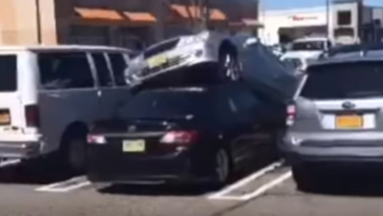 This Mercedes Driver In New Jersey Parked On Top Of A Toyota