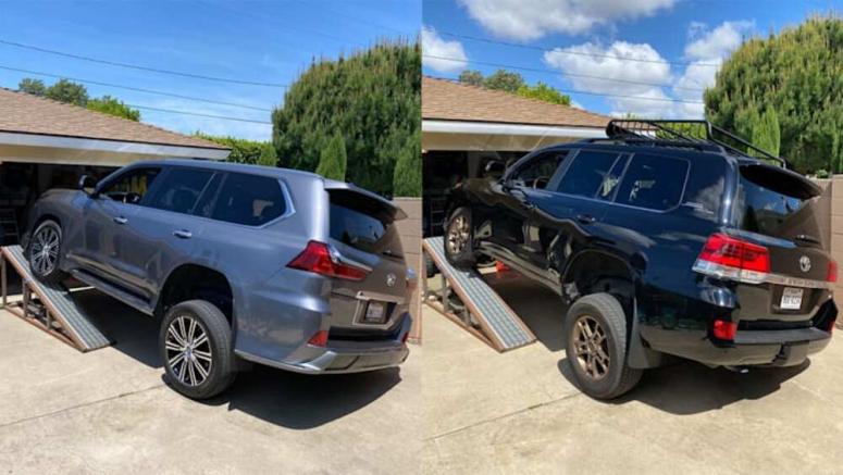 Toyota Land Cruiser vs Lexus LX 570 Suspension Flex Test | Measuring suspension articulation on an RTI ramp
