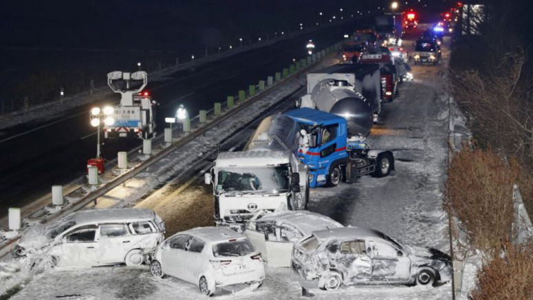Snowstorm in Japan causes 134-vehicle pileup
