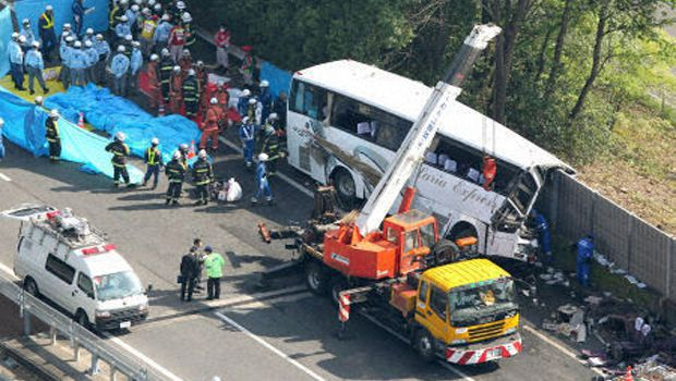 7 holidaymakers casualties in highway bus accident near Tokyo