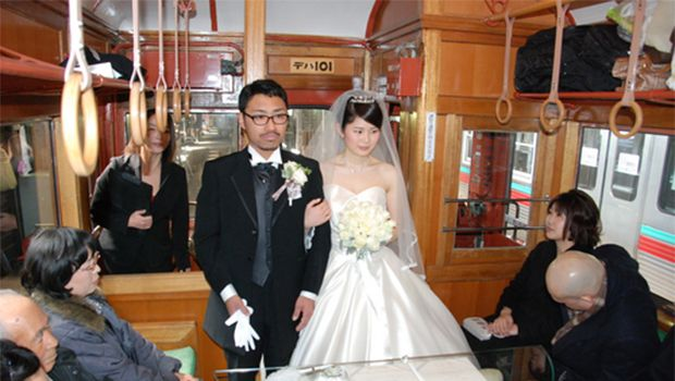Couple holds wedding ceremony aboard vintage train in Gunma Prefecture