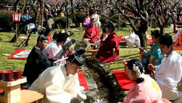 Sake and plum blossoms in spring ceremony first held 1,000 years ago