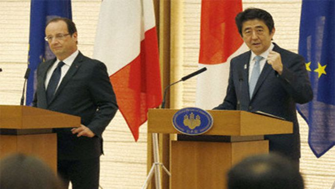 "Japan, France eye ""prior notification"" arrangement for arms exports"