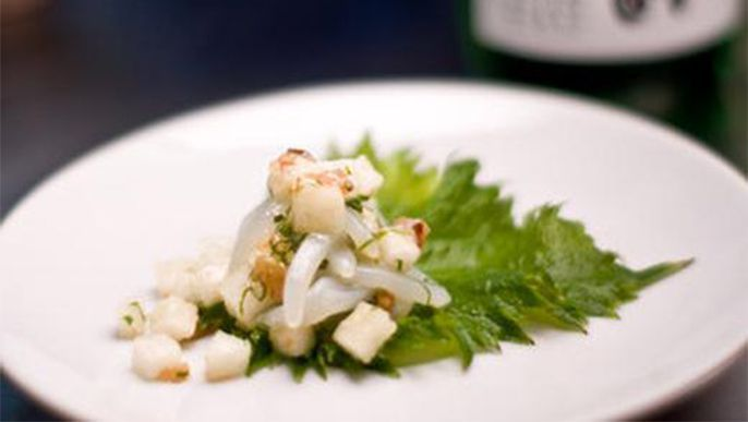 Pickled plum and calamari salad