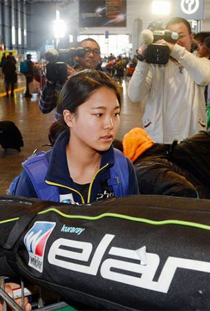 Ski jumper Sara Takanashi, women's team depart for Europe, Sochi Olympics
