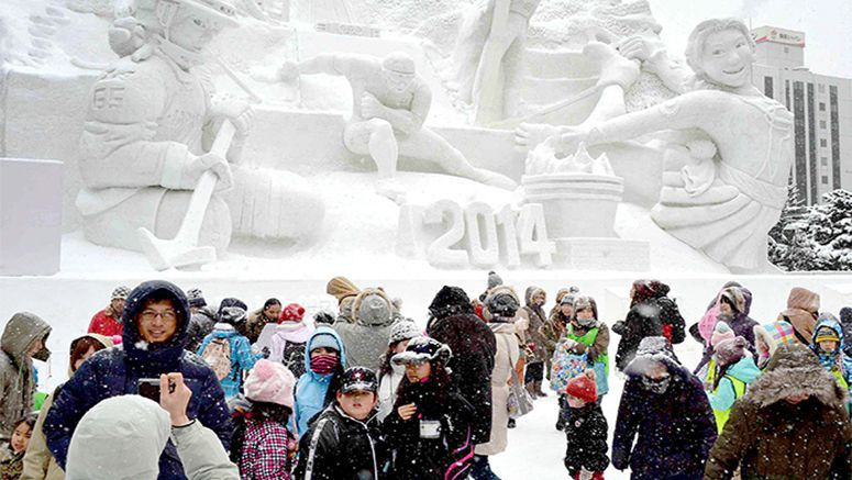 Sapporo snow festival cheers on Olympians in Sochi
