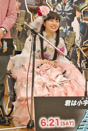 Momoiro Clover Z's Sasaki Ayaka attends public recording for anime film in wheelchair