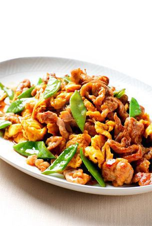Sweet and spicy stir-fried pork and egg is great accompaniment to rice