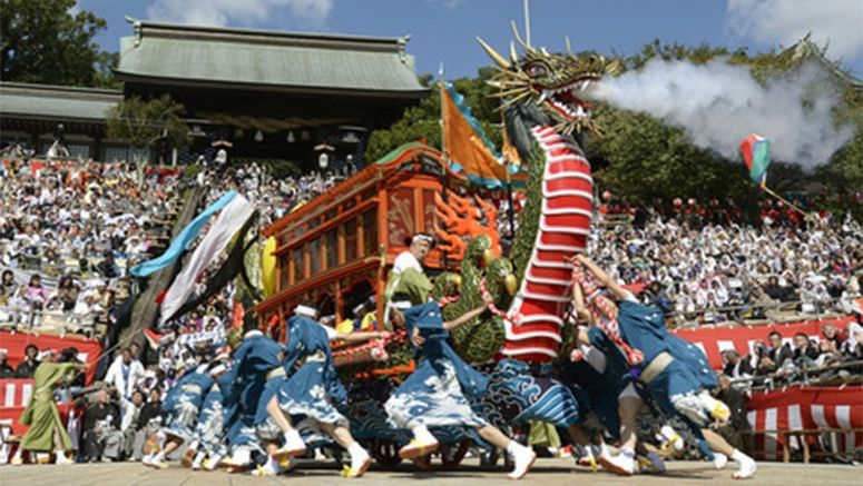 Photo Dragon Boat Float At Nagasaki Kunchi Festival