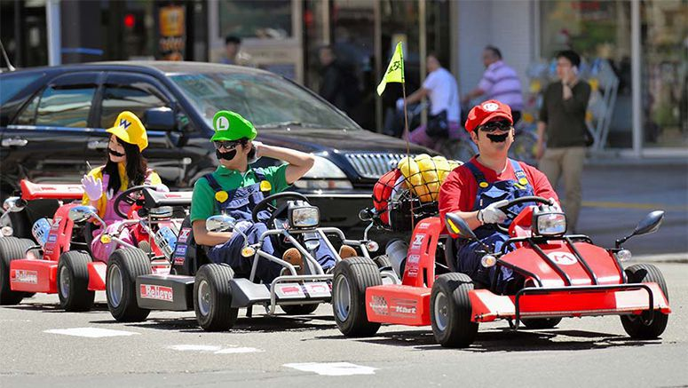 Game on, as Mario Kart characters zoom along streets of Sapporo