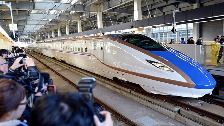 Hundreds take 'thrill ride' aboard new high-speed bullet train on Hokuriku line