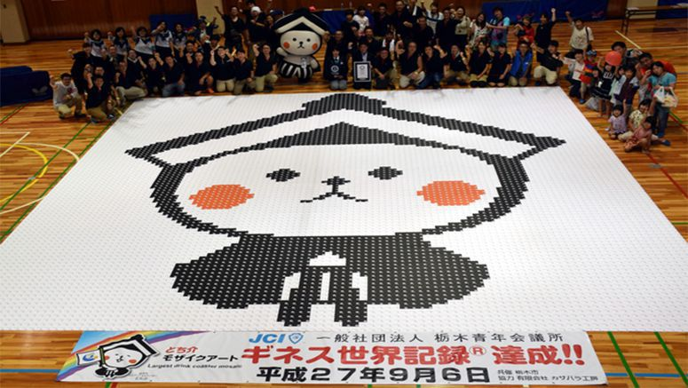 Coaster mosaic of local mascot claims Guinness record
