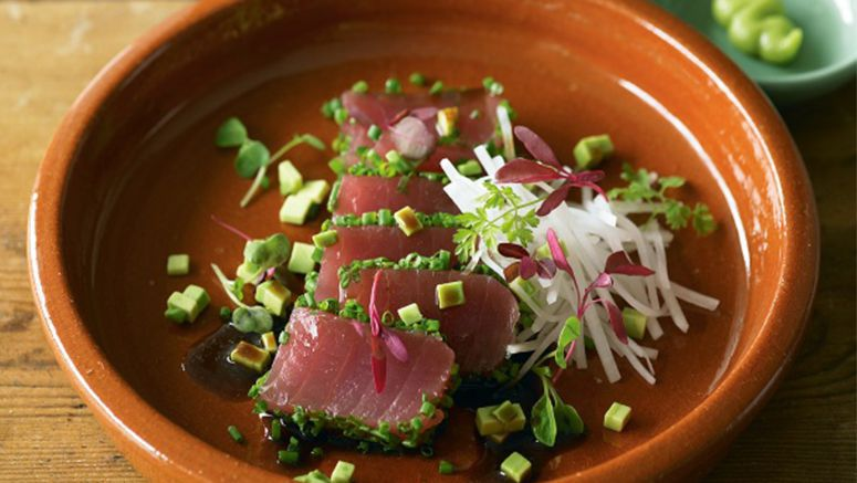 Tuna, avocado and daikon salad with wasabi dressing recipe