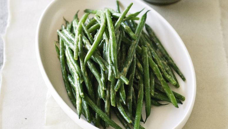 Green beans with miso dressing