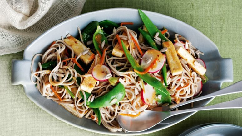 Soba noodle, tofu & vegetable salad with miso dressing