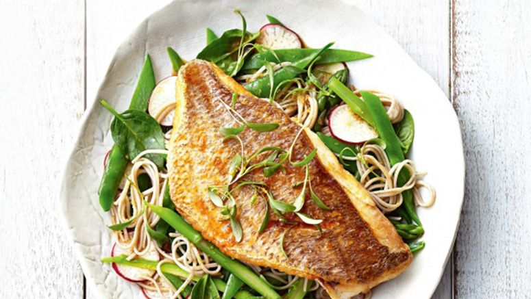 Seared snapper and soy ginger noodles recipe