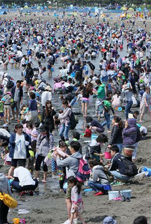 Clam diggers scour Yokohama beach as long holiday approaches end