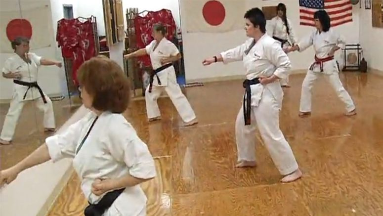 Women proving they've got the karate chops