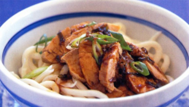 Pork with udon noodles