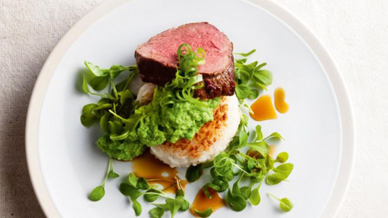 Sushi rice cakes with roast beef & wasabi pea puree