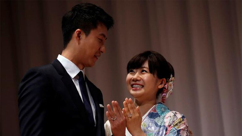 Olympic medallist Fukuhara holds second wedding ceremony with Chiang