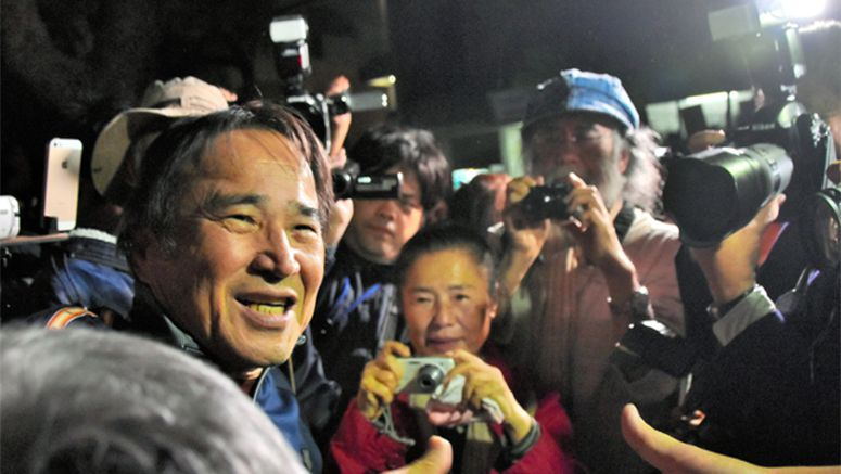 Jailed against U.S. base pioneer in Okinawa liberated following 5 months