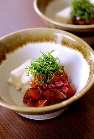 Crunchy pickled plums give contrast to marinated tuna