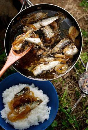 Sardine and rice bowl, an easy hot meal to savor under vast skies