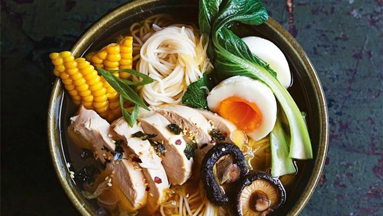 Shoyu chicken ramen with fresh corn and choy sum