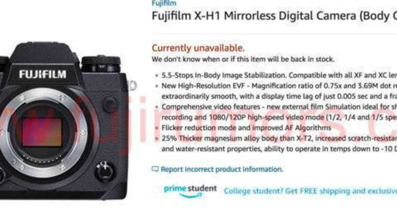 Amazon (Briefly) Listed The Fujifilm X-H1 On Its Website