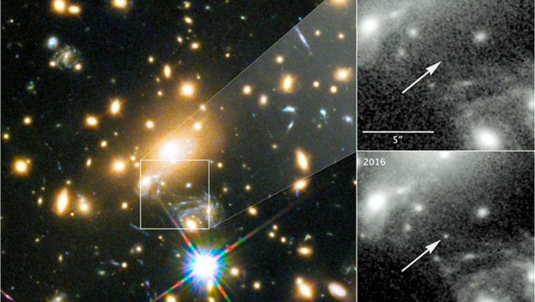Farthest star photographed with cosmic lens, Hubble telescope