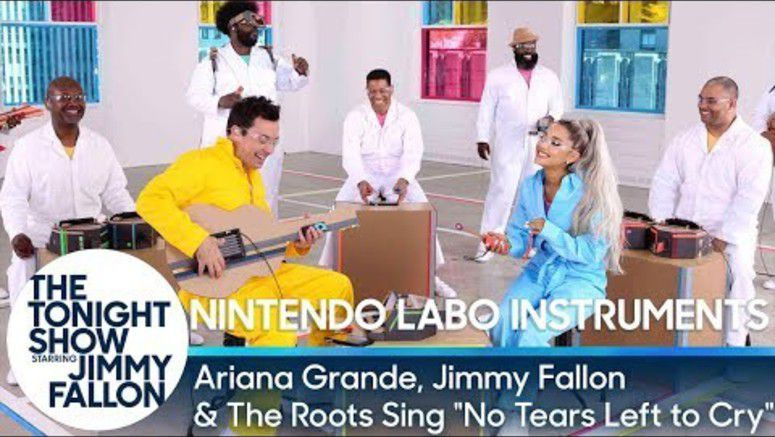 Ariana Grande Performs With A Band Using Nintendo Labo Instruments