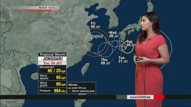 Jongdari moving slowly near southwestern Japan