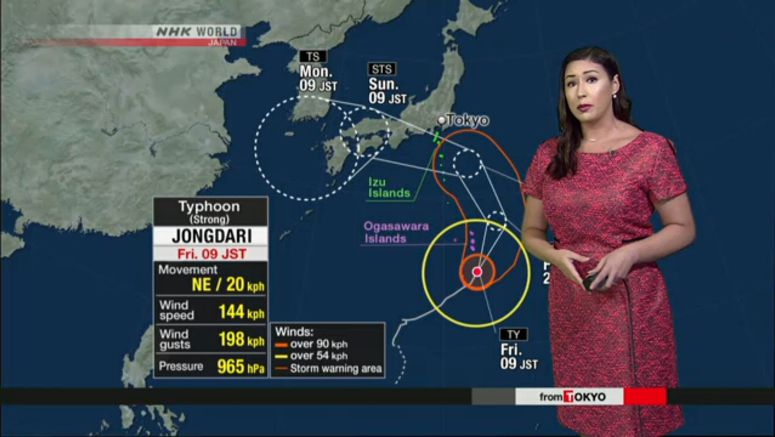 Typhoon approaching Ogasawara Islands