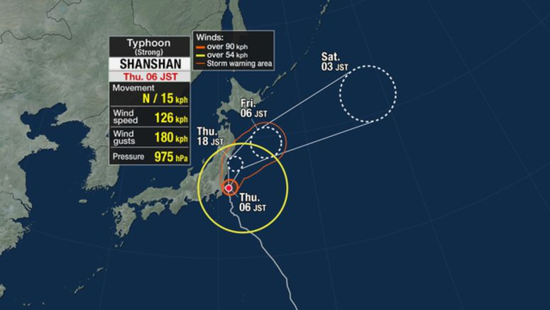 Strong typhoon heading up east coast of Japan