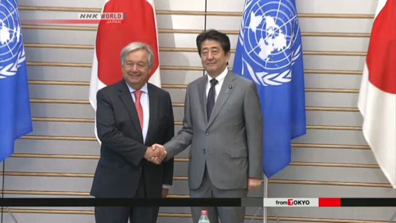 Abe, Guterres agree to keep sanctions on N.Korea