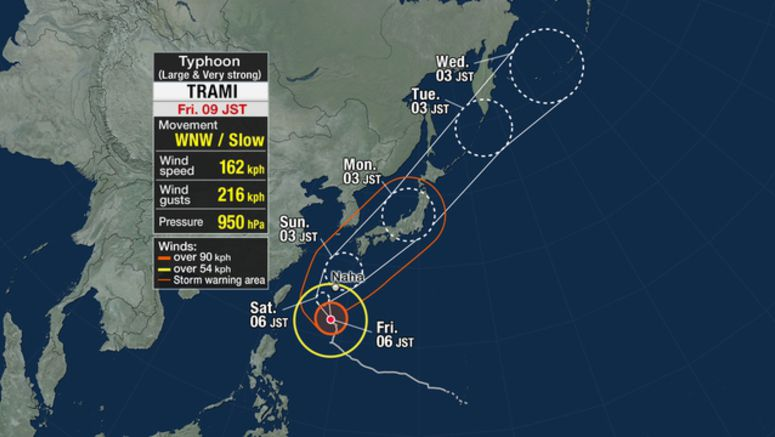 Typhoon heading for Okinawa, Amami Islands