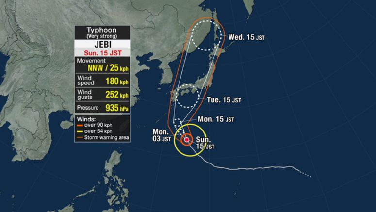 Typhoon Jebi approaching Japan's main islands