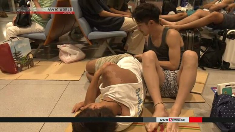 Over 3,000 spend the night at Kansai Airport