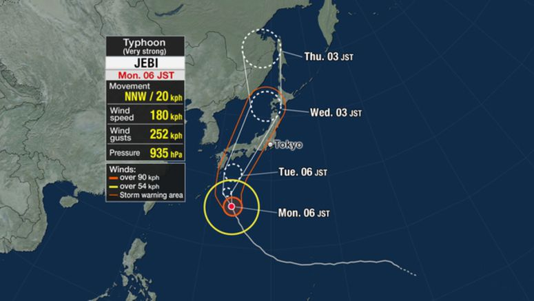 Jebi approaching Japan's main islands