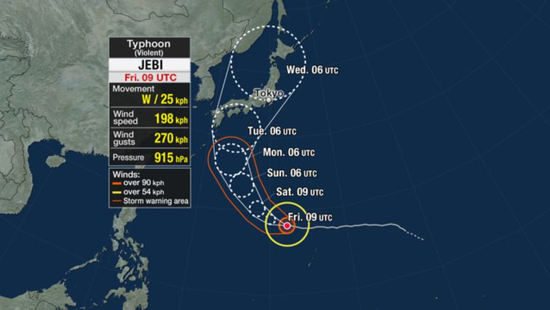 Typhoon Jebi expected to near Japan
