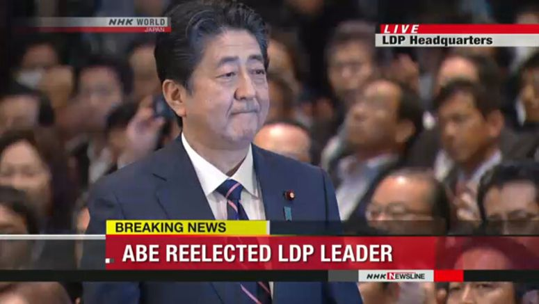 Abe reelected as leader of LDP