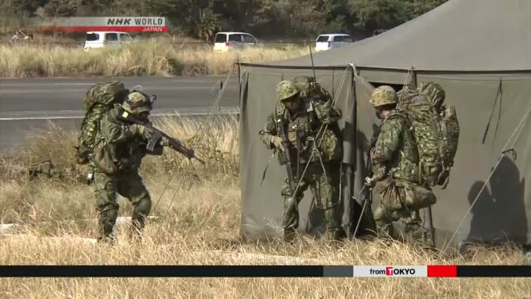 GSDF, US Marines hold joint drill on Tanegashima