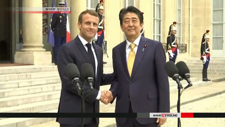 Abe, Macron agree to step up security cooperation