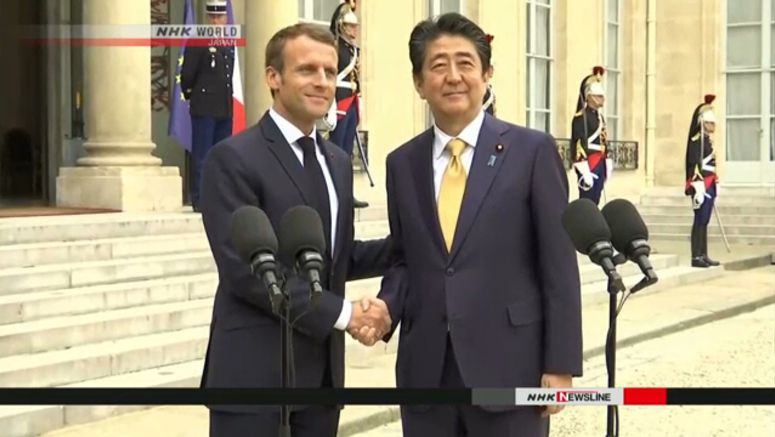 Abe, Macron talk trade and security