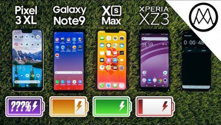 iPhone Xs Max VS Note 9 VS Pixel 3 XL VS Xperia XZ3 In Battery Test