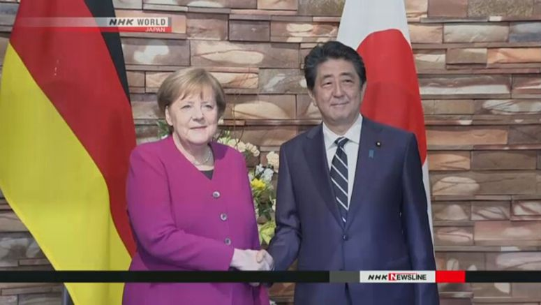 Abe, Merkel, agree to bolster economic ties