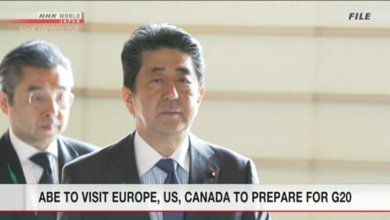 Abe to leave for tour of Europe, US, Canada