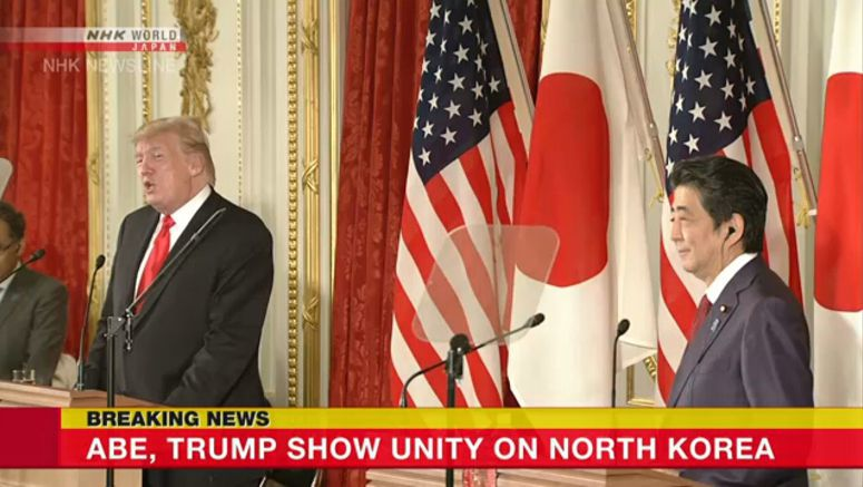 Abe, Trump show unity on North Korea